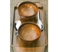 Wooden tray with 2 bowl