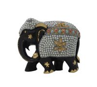 Wooden elephant with stone pearl work elephant showpiece