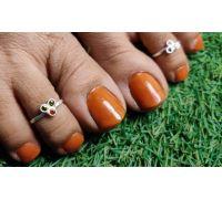 Toe ring three meena silver toe ring with 3 meena
