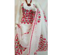 Suit material aari tari hand work on Kota doriya super net 3 piece dress material white red