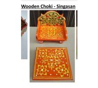 Wooden singhasan and chouki painted orange for diety