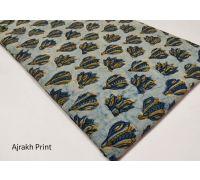 Vegetable dyed ajrakh print  handblock cotton dress material 1 meter for kurti , plazo , nighty  code 1