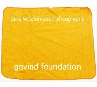 Yellow woolen asan big size pure wool sheep yarn peela uni asan 32×24 inches