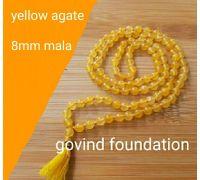 Yellow agate mala yellow hakik mala 8mm 108 beads
