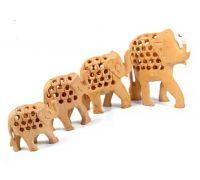 Wooden cut work elephant set of 4 wooden elephant jali cut showpiece