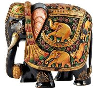 Wooden elephant hand painted wooden elephant trunk down 8 inches
