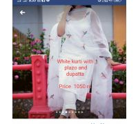 white kurti with plazo, dupatta CODE 8