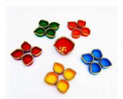 Diwali diya colorful set of 21 -20 small and 1 choumukha diya