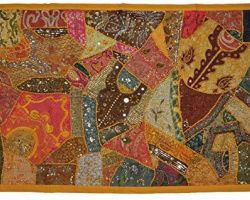 Handmade heavy embroidery and patchwork fabric wall hanging 60×40 inches virasat