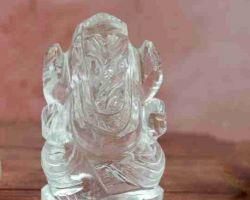 Sphatik ganeshji clear crystal quartz ganesh idol 2 inches