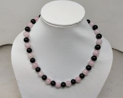 Rose quartz and black agate mix beads necklace pink and black natural stone necklace