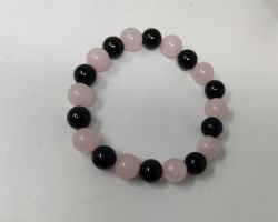 Bracelet rose quartz and black agate mix bracelet