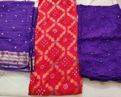Banarasi bandhej suit material 3 piece nazakat