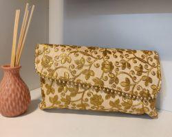 Handbag clutch bag cum handbag embroidery work golden A