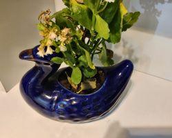 Flower pot ceramic duck flower pot blue