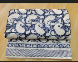 Quilt handblock print cotton Jaipuri rajai  double bed king size floral blue