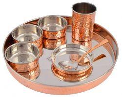 Copper steel dinner set 7 piece copper steel thali set