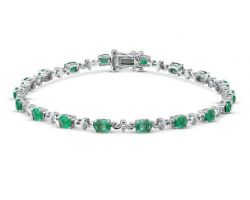 Emerald Silver bracelet emerald with silver chain