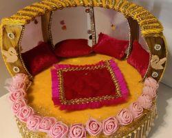 Singhasan decorative wooden singhasan cum bed laddu gopal singhasan