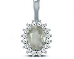 White sapphire pendant silver white sapphire stone with silver pendant  with diamond