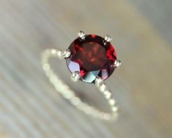 Red garnet Silver ring natural red garnet with silver ring round gomed ring