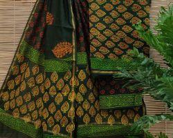 Chanderi silk dress material 3 piece chanderi silk suit material with handblock print  green and yellow code 10