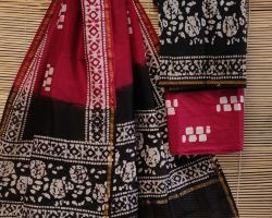 Chanderi silk dress material 3 piece chanderi silk suit material with handblock print  red and black ode 12