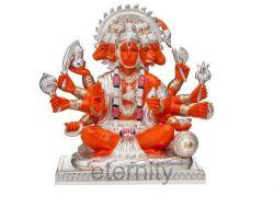 Panchmukhi Hanuman idol Silver plated Panchmukhi Hanuman statue 7.5 inches
