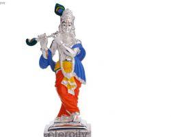 Silver plated krishna idol Silver plated krishna statue 6.5 inches