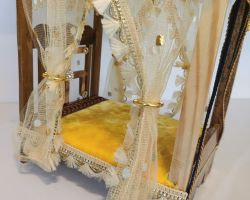 Laddu gopal bed decorative bed for laddu gopal with curtains  yellow