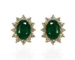 Earrings emerald and diamond