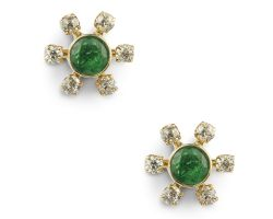 Earrings emerald and diamond code 6
