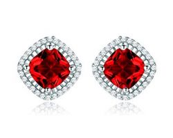 Earrings Ruby with diamond code 2