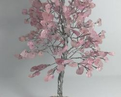 Rose quartz stone tree