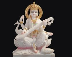 Marble murti of maa saraswati idol of marble stone