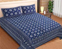 Cotton block print bedsheet double bed