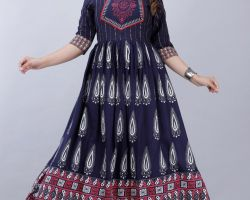 Anarkali type gown with neck design