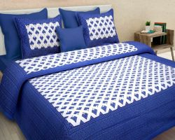 Cotton bedsheets double bed sanganeri  code 1