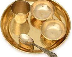 Brass bhog thali set small size laddu gopal bhog thali set, 5 piece
