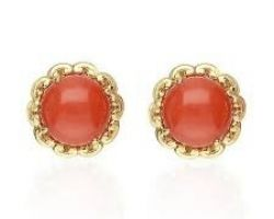 Coral stone earrings gold code 1