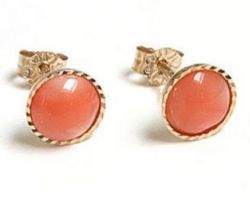 Coral stone gold earring moonga gold studs code 2