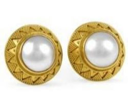 Pearl earrings in gold pearl gold studs code 2