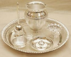Silver pooja thali set chandi ki pooja thali set
