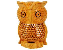 Wooden owl showpiece jali cutting