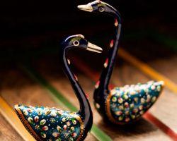 Swan pair showpiece hans showpiece batakh handcrafted metal