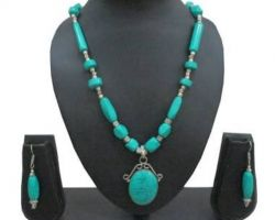necklace  semi precious stone firoja necklace with earringsB