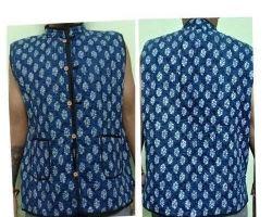 Jaipuri half jacket printed quilted jaipuri jacket blue print