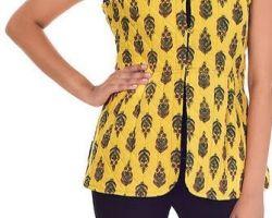 Jaipuri printed half jacket quilted jaipuri jacket yellow color