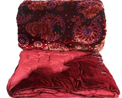 Jaipuri shaneel ki rajai jaipuri velvet quilt single bed red color