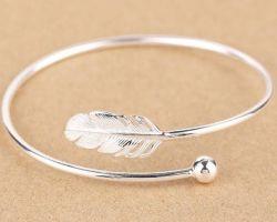 Pure silver bangle leaf design beautiful bangle